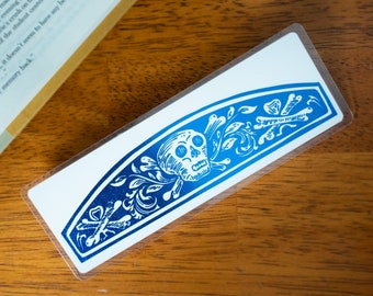 Skull and Crossbones Bookmark   Skeleton Vintage Illustration   Personalized Foil Gift for Book Lover