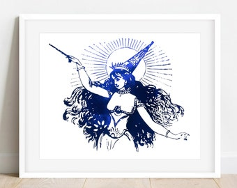 "Witch Wall Decor   ""Miscellaneous Magic""   Custom Foil Art Print   Vintage Mystical Art"