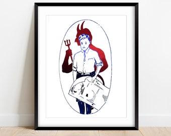 Devil's Influence Foil Wall Art   Morbid Boy and Devil Foiled Print   Customized Foil Colors