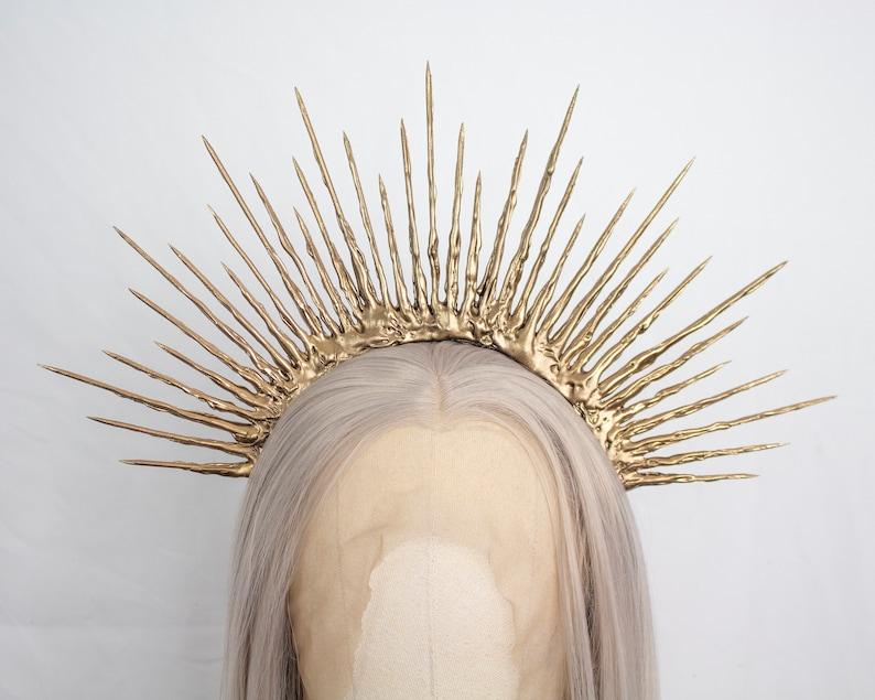 Sunshine Headpiece Mary Crown Gothic Headpiece Gold Halo Crown Festival Crown Boho Crown Summer Crown Gothic Crown Met Gala Crown