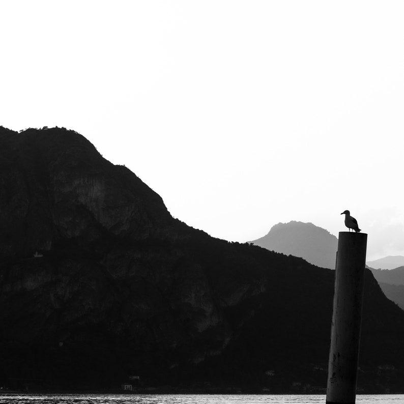 Monochromatic Decor Lake House Decor Monochrome Art Print of Mountain Silhouette in Lake Como