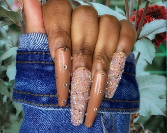 Luxury Press On Nails| Glue On Nails | Brown Nails | Trendy Nails | Fake Nails | Bling Press On Nails