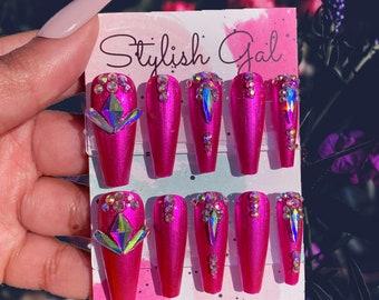 Pink Press On Nails | Bling Nails | Metallic Nails | Pink Nails |  Nail Art | Gel Nails | Glossy Nails | Long Nails | Coffin Nails