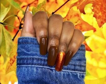 Brown Press on Nails/ Gold Nails/ Glitter Nails Fall Nails
