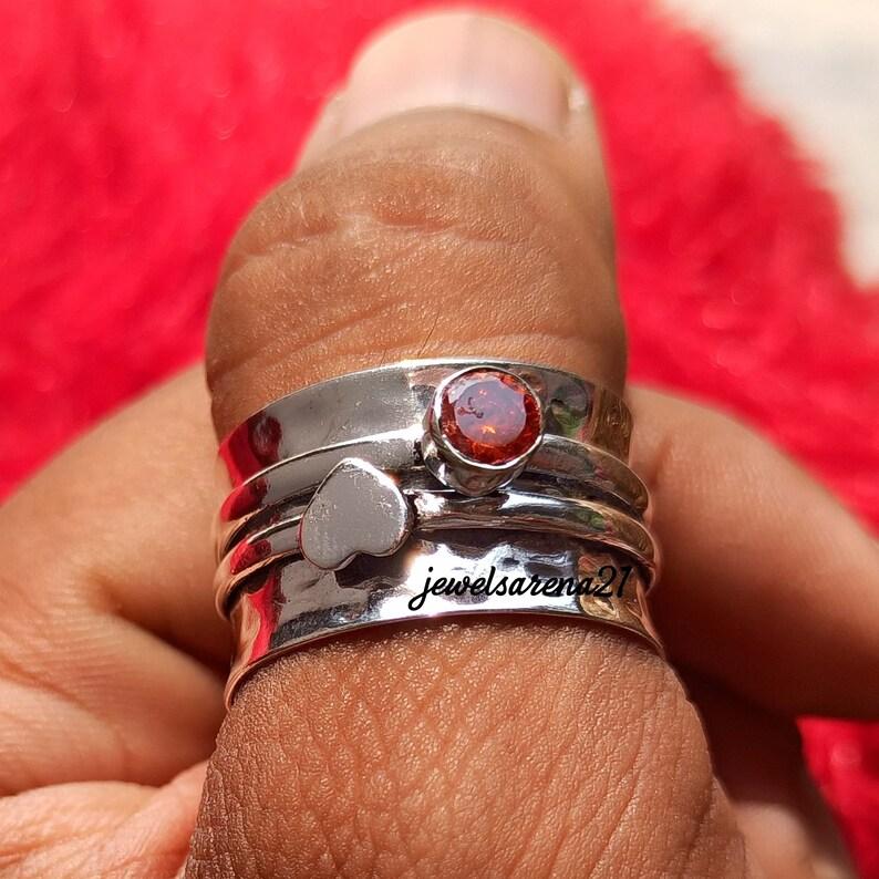 Worry Ring Anxiety Ring Garnet Spinner Ring Gemstone Spinner Ring Women Ring Garnet Ring 925 Silver Ring Spinner Ring Fidget Ring