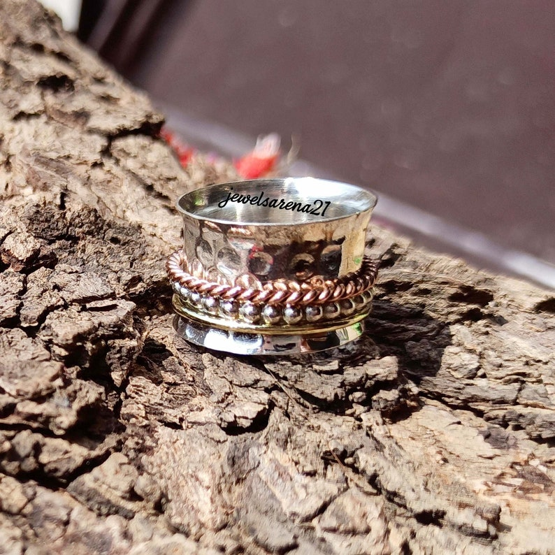 Sterling Silver Ring* Spinner Rings For Women* Multi Spinner Ring* Boho Ring* Best Gift For Her* Spinning Ring* Three Tone Spinner Ring*