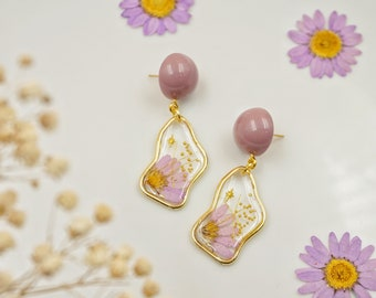 hexagen shape pearls dried hydrangea flowers resin earrings,everlastin blooms earrings unique handmade gift resin jewery for woman
