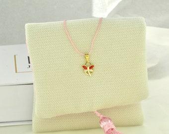 Tiny Gold Charm Rose Enamel Gold Charm Gold Star Enamel Pendant 9K Solid Yellow Gold Necklace Birthday Girl Gift,Christmas Gift..