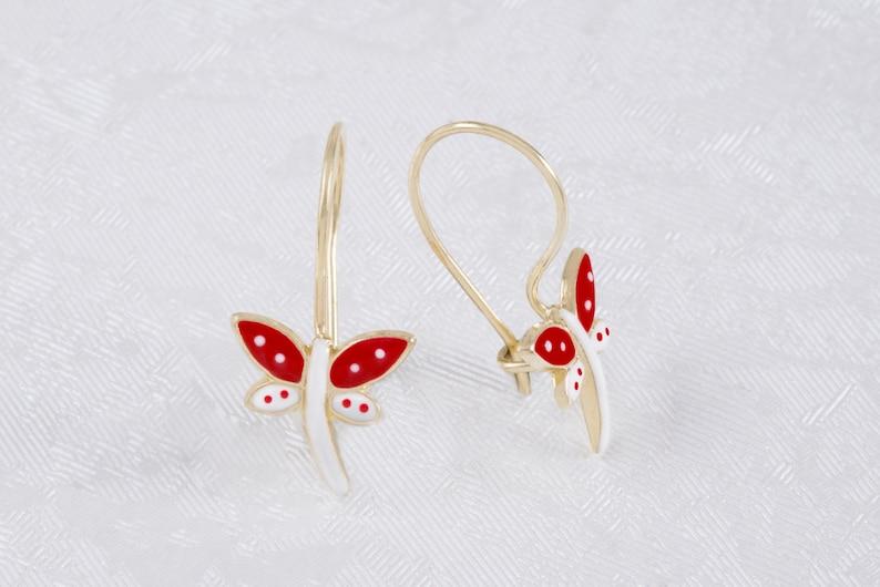 Red /& White Enamel Dragonfly Baby Girl Earrings 9K Solid Gold Toddlers Earrings Dainty  Enamel Yellow Gold Little Girl Gold Earrings.