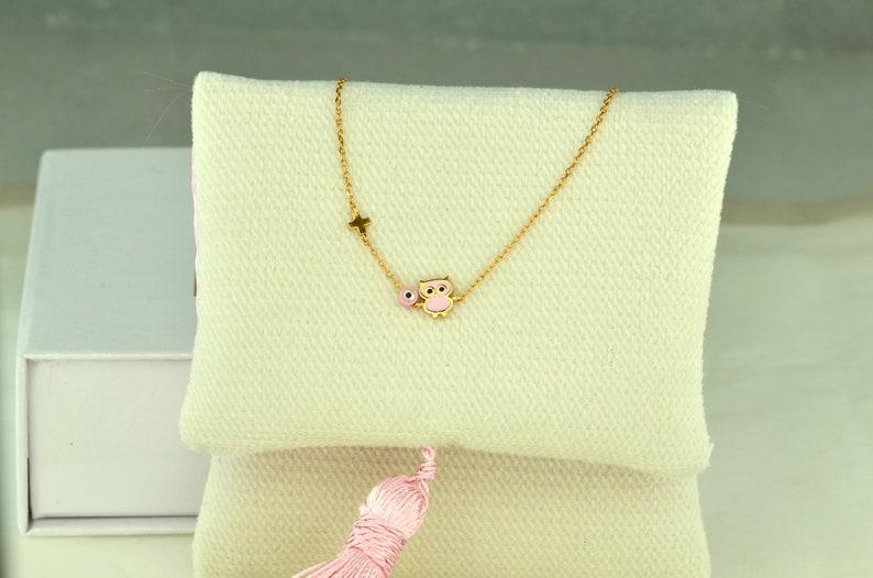 Owl From Enamel 9K Fildisi Evil Eye NewBorn Rose Gold Girl Bracelet Birthday Gross Good Luck /& Protection Jewelry Baby Shower Gift.