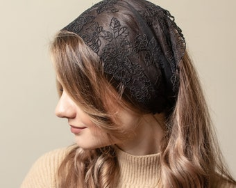 Black lace headband with flowers, Wide Lace Headband, black lace Headwrap   VP00BL012