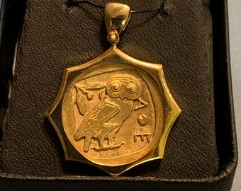 Greek Style Athena's Owl - Pendant - Sterling Silver-Gold Plated