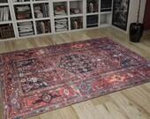 Area Rug 6x9, Handwoven Kilim, Traditional Anatolian Rug, Ethnic Area Rug, Turkish Vintage Rug, Heriz Rug 6x9, Red Rug, FAST FREE SHIPPING