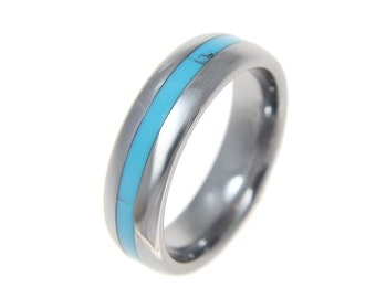 Anniversary Wedding Band Honeymoon Inlay Turquoise Mens Gift Tungsten Ring with Crushed Turquoise Inlay- Ring