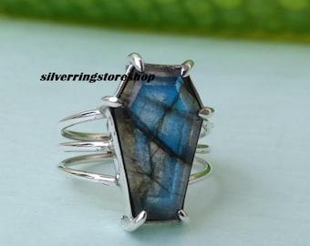 6.9 Gram Top Quality Labradorite Gemstone Ring 925 Solid Sterling Silver Ring Handmade Polish Ring Wholesale Supplies 822