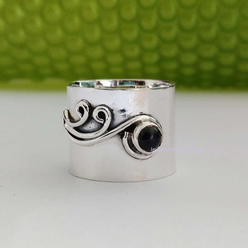 Gemstone Ring Statement Ring 925 Sterling Silver Ring Gift Ring, Band Ring Meditation Ring Gemstone Ring Woman Ring Black Onyx Ring