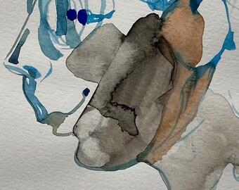 Portrait, watercolor drawing