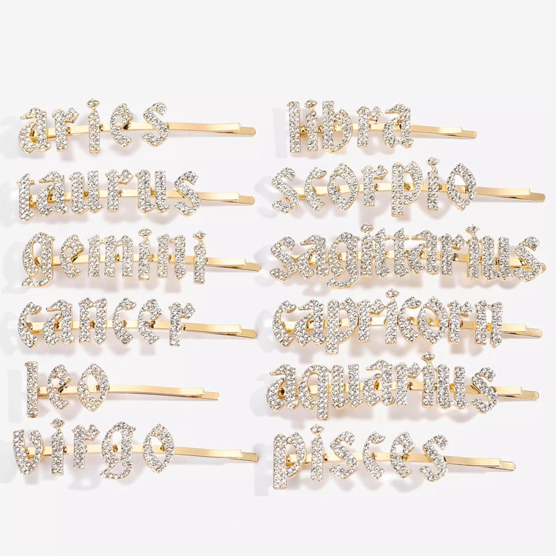 Bling hair clips with zodiac signs Rhinestone Hair Clips Zodiac Gifts for her