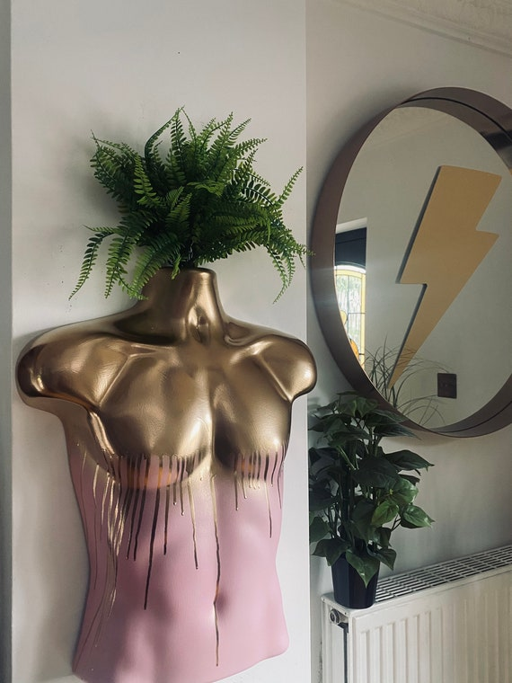 Male Wall Torso Boobie Artificial Plant Holder Pink with mirror gold drips