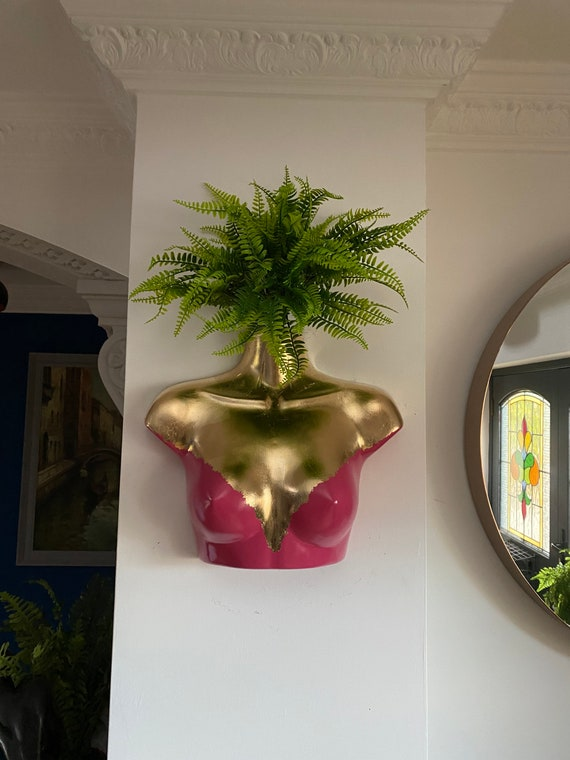 Female Wall Torso Boobie Artificial Plant Holder Fuchisa pink and Gold