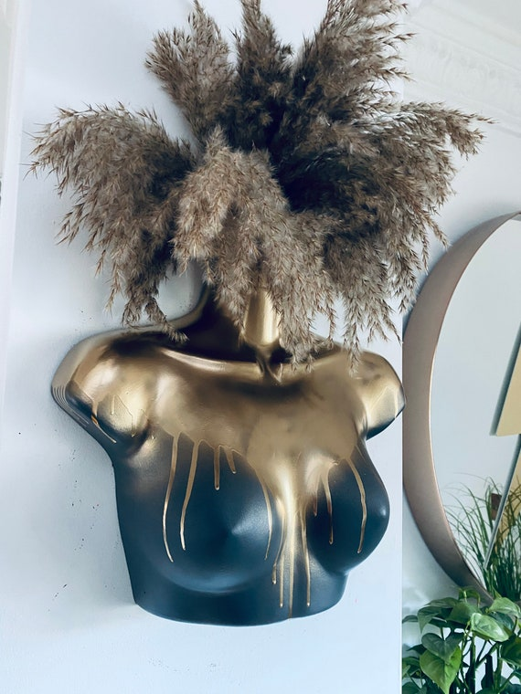 Female Wall Torso Boobie Artificial Plant Holder Grey and Gold drips