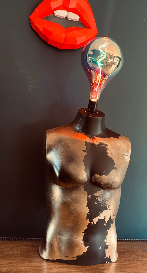 Male Mannequin Lamp - Black with gold leaf.