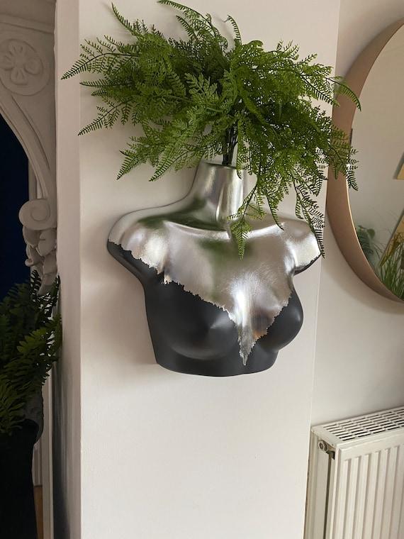 Female Wall Torso Boobie Artificial Plant Holder Grey and Silver