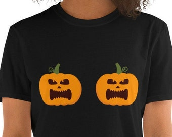 Pumpkin Tits - Funny Halloween Unisex T-Shirt with two pumkins over the chest area