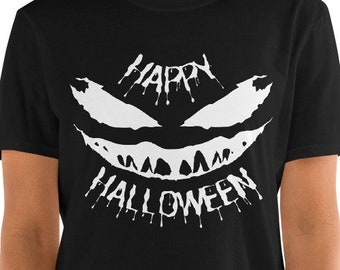 Happy Halloween Scary Face - Funny Halloween Unisex T-Shirt with a scary Venom style face