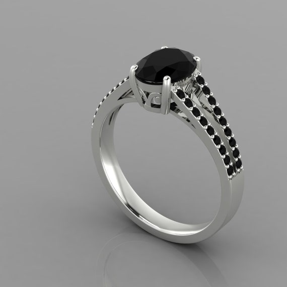 Split Shank Engagement Anniversary Ring Solid 925 Sterling Silver Black Onyx