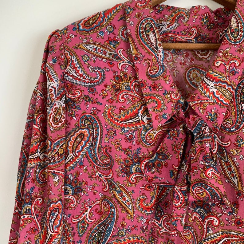 Gorgeous Vintage Mauve Pink Paisley Print Dress with Kitten Bow LargeXL HOV0071