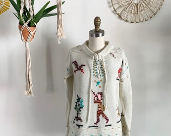 Amazing Duck Hunter Inspired Cross Stitch Knit Pullover Sweater by Full Fashioned Pixelated Wearable Folk Art - HOV0011