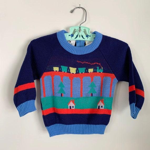 VTG CBX Train Tracks Knit Sweater Sz 2T Acrylic Bold Colors Blue Red