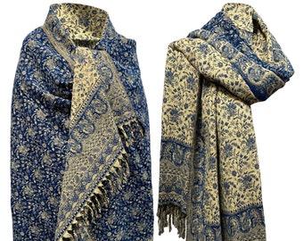 LUXURY HANDMADE  Dark blue Scarf Yak Wool yoga blanket stole unisex Travel Wrap Meditation Soft Shawl special Gift