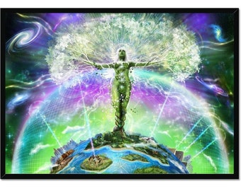 Gaia's Awakening by Primal Alchemy ∞ Framed Esoteric, Occult and Visionary Art Print, Psychedelic Sacred Geometry Encoded