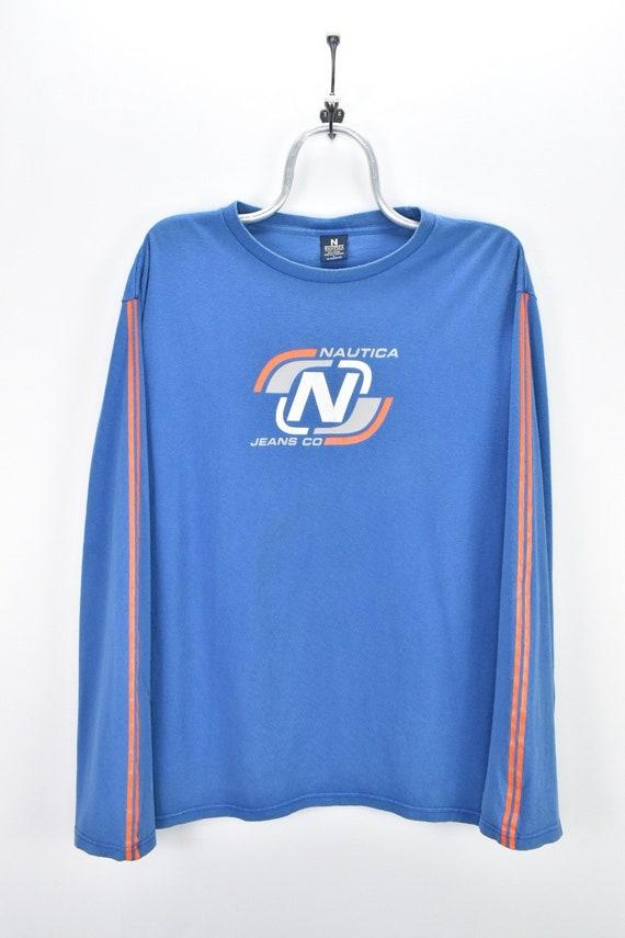 VINTAGE NAUTICA LONG sleeve blue t-shirt | large