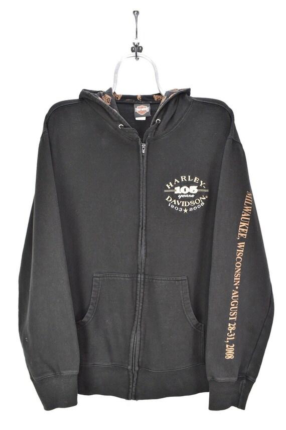 VINTAGE HARLEY DAVIDSON embroidered black hoodie |