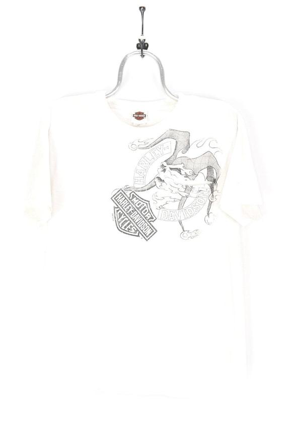 VINTAGE HARLEY DAVIDSON white t-shirt   large