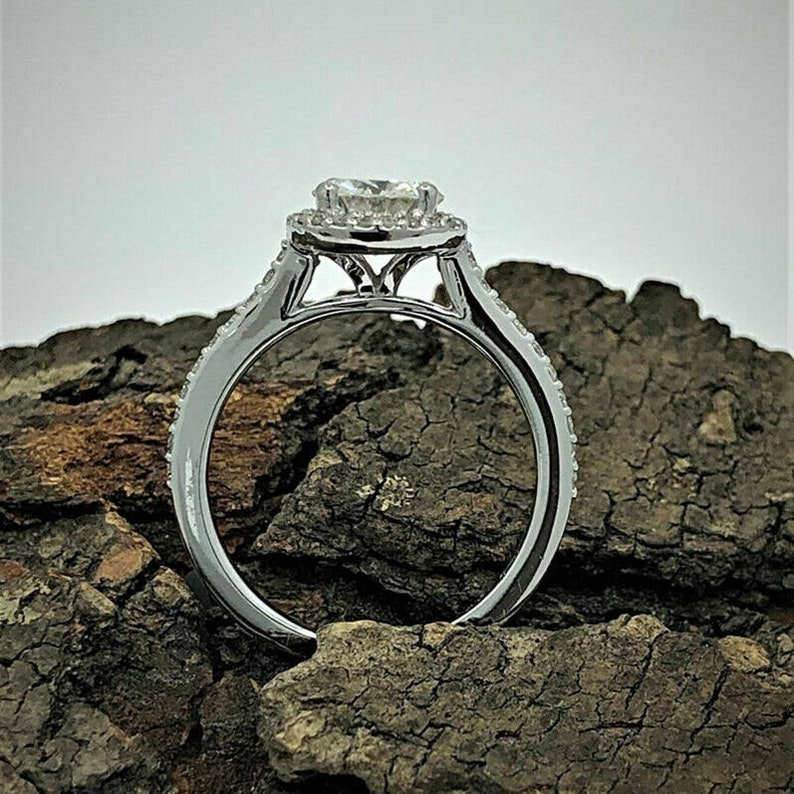 Solitaire With Accent RingHalo Unique Engagement RingFancy Wedding Bridal RingGift For Her2.00CT Round Diamond925 Silver14K White Gold