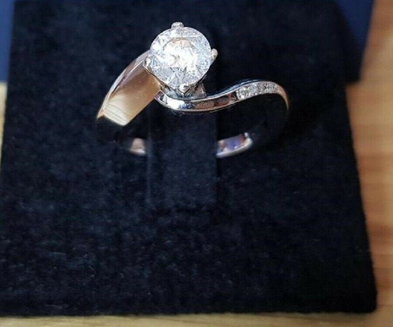 Solitaire Bypass RingUnique Engagement RingsProposal RingGift For HerFancy Promise Ring2.00 CT Round Diamond925 Silver14K White Gold