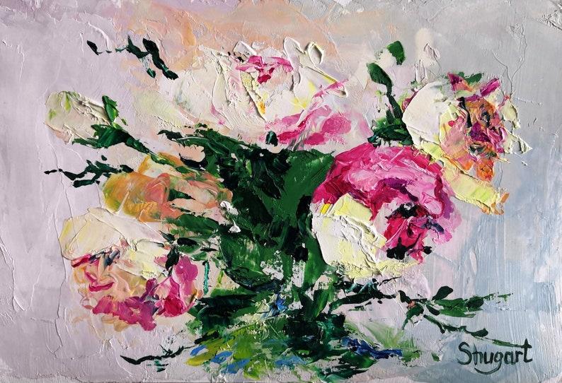 Oil painting Peonies delicate pink flowers impasto Original work Wall Decor