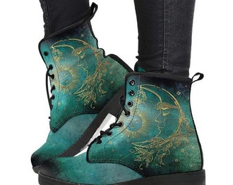 Gold moon vegan leather ankle boots,  Gothic Hiking Boots, Women's Boots, Combat Style Boots, Emo Punk Boots, Goth Winter Boots