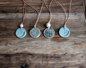rustic chain, ceramic pendant with leather strap, length adjustable, hand-pottered, ammonite, star, tree of life, unisex, unique