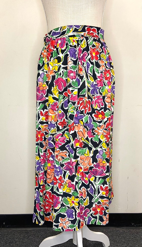 Vintage Danielle B. 80s Floral Skirt -- Long Black