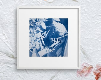 """Butterfly art cyanotype print, floral wall art - 5x5"""" print, great for any butterfly lover"""