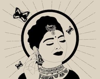 Indian Desi Girl illustration poster • A4 Female Empowerment Art Print • Woman Drawing • Feminist feminism Art • Female Artist • Wall Decor
