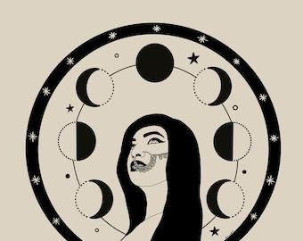 Moon cycle illustration poster • A4 Female Empowerment Art Print • Woman Drawing • Feminist feminism Art • Female Artist • Wall Decor