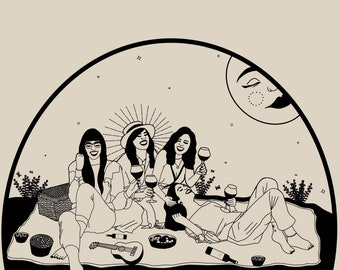 Friendship illustration poster • A4 Female Empowerment Art Print • Woman Drawing • Feminist feminism Art • Female Artist • Wall Decor