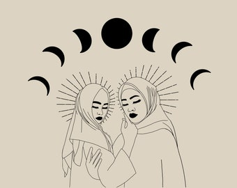 Islam Muslim Hijab Illustration Poster • A4 Female Empowerment Art Print • Woman Drawing • Feminist feminism Art • Female Artist