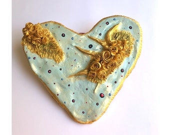 BIG HEART DECOR light blue and gold Wall decor Love exclusive original heart, casual unique  style Rustic Style Hippy Chic flowers